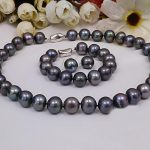 wedding Women Jewelry set 12mm Black Colors Pearl Gray Blue Brown Mixed Necklace <b>bracelet</b> Earring Natural Freshwater Pearl