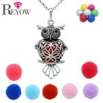 Aromatherapy Essential Oil Diffuser Cage Locket <b>Antique</b> Silver Heart Owl Pendant Chime Ball Necklace <b>Jewelry</b>