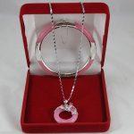 real Women's Wedding Wonderful pink stone Circle Pendants Necklace Bracelet Set no box 5.23 silver-<b>jewelry</b>