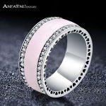 ANFASNI NEW ARRIVAL 925 Sterling Silver Wide Pink Enamel <b>Wedding</b> Rings With Clear CZ For Women Luxury <b>Jewelry</b> RI0124-B