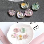 Spring style 20pcs/lot flowers core decoration Glass 3D rounds/hearts shape <b>copper</b> charms diy <b>jewelry</b> earring/necklace pendants