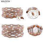 KELITCH bracelets Bohemia beads Bracelets Summer <b>Jewelry</b> <b>Handmade</b> Cool Multilayers Seed Beads Stone Wrap Cuff For Women Gifts
