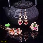 KJJEAXCMY boutique jewels 925 sterling <b>silver</b> inlaid with natural tourmaline pendant + ring + <b>earring</b> suit for necklace jewelry.