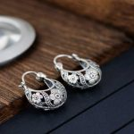 FNJ 925 Silver Flower Earrings for Women <b>Jewelry</b> New <b>Fashion</b> Vintage Original Pure S925 Silver Sterling Hoop Earring