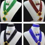 <b>Handmade</b> Crystal women necklaces costume jewellry nigerian wedding african beads <b>jewelry</b> set