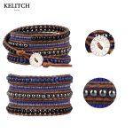 KELITCH <b>Bracelets</b> Mix Beads <b>Bracelets</b> Handmade Leather Chain Wrap <b>Silver</b> Clasp Multilayers Women <b>Bracelets</b> custom logo beads
