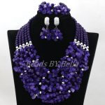 New Purple Coral Beads Nigerian Wedding Indian Bridal Jewelry Sets Statement Necklace Lace Jewelry Sets Free Shipping ABK873