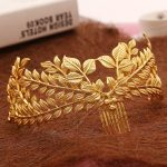 New design bridal hair <b>jewelry</b> vintage hair comb gold leaves crown leaf wedding accessories wholesale women headpiece