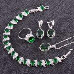 Christmas 925 Silver Women Costume <b>Jewelry</b> Sets Green Cubic Zirconia Earrings/Pendant/Necklace/Rings/Bracelets Free Gift Box