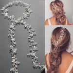Long Tiara Bridal Headbands Wedding Headpiece Pearl <b>Jewelry</b> Women Hair Accessories White Crystal Beads Hair Accessory