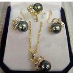 Women's Wedding charm Jew. Black Pearl Earring Ring <b>Necklace</b> Set real <b>silver</b>-jewelry