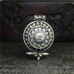 TGB086 Tibetan silver Sun God Amulets Prayer Box Tibet Double Layer Amulet Box Pendants Nepal <b>Antiqued</b> GHAU <b>Jewelry</b>