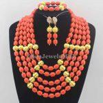 <b>Handmade</b> necklace Coral beaded <b>Jewelry</b> Sets Nigerian Wedding Coral Beads Necklace <b>Jewelry</b> Sets african beads <b>jewelry</b> sets W11392