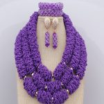 Gold Metal Beads Crystals <b>Jewelry</b> Sets New <b>Handmade</b> African Wedding Nigerian Beads Big Sage Purple Necklace Free Shipping
