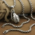 LINSION 925 Sterling <b>Silver</b> Hand Grenade Pendant Mens Biker Punk Pendant 8A041 Stainless Steel <b>Necklace</b> 24″