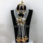 Latest <b>Handmade</b> African Wedding Crystal Beads Nigerian Women Party Statement Necklace Bridal <b>Jewelry</b> Sets Free Shipping ABK386