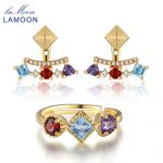 LAMOON 925 Fine Jewelry Set Sterling <b>Silver</b> Jewelry Plated Pyramid 0.7ct 3mm Natural Amethyst Garnet Topaz V013-1
