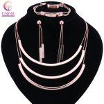 Fashion Bridal Gift Nigerian <b>Wedding</b> African Beads <b>Jewelry</b> Set Fashion Dubai Rose Gold Color Necklace Earring Ring <b>Jewelry</b> Sets