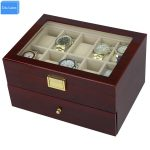 Send by DHL Luxury 20 Slots 2 Layer Rose Wood Glossy Lacquer Watch Box Wood <b>Jewelry</b> Collection Display EXW&Drop Shipping <b>Supply</b>