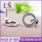 LS High Quality 100% Real 925 Sterling Silver Forever Pan CZ Stud Earrings Stud Earrings Fine <b>Jewelry</b> <b>Making</b> W