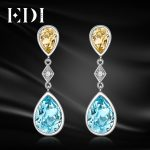 EDI Fashion Natural Sky Blue Topaz Citrine 100% 925 <b>Sterling</b> <b>Silver</b> Drop Earrings For Women Luxurious Fine <b>Jewelry</b>