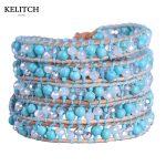KELITCH <b>Jewelry</b> 1Pcs Crystal Beads Blue Synthetic Stone 5 Wrap Bracelet <b>Handmade</b> Weave Leather Chain Bohemian Charm Bracelet