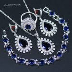 L&B Popular Blue Crystal White Zircon 925 logo <b>Silver</b> Color <b>Bracelets</b> Jewelry Sets For Women Wedding