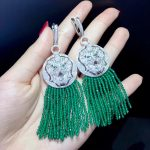long tassels earring green color 925 <b>sterling</b> <b>silver</b> with cubic zircon lion drop earring vintage fashion women <b>jewelry</b>