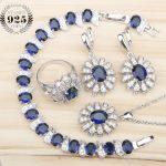 Women Silver 925 Bridal <b>Jewelry</b> Sets Bracelets Necklace Earrings Rings Set Jewelery With Blue Zircon White Stones Gift Box