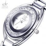 SK <b>Silver</b> Diamond Women Watches Luxury High Quality Water Resistant Dress Woman Wrist Watch Montre Femme Stainless Steel 2018