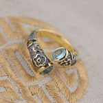 Genuine Topaz Inlay 925 Pure Silver Ring For Women Girl <b>Handmade</b> Enamel Cloisonne Gift Ring Thai Silver <b>Jewelry</b> Accessories
