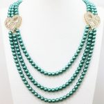 Multicolor 3rows 6mm round imitation-pearl shell round beads crystal purfle heart accessories <b>making</b> necklace 28-32inch B1187