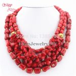 Red Coral Necklace Holiday Party Necklace Nigerian <b>wedding</b> Beads Coral beaded <b>Jewelry</b> Necklace Gift Bridal <b>Jewelry</b> AL0007