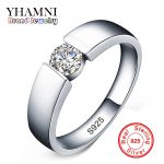 YHAMNI 100% original Solid 925 Silver Rings Set 6mm 1ct CZ Diamant Engagement Rings <b>Jewelry</b> Wedding Rings for Women and Men RD10