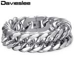 22mm Heavy Silver Tone Double Curb Link Rombo Mens Chain Boys 316L Stainless Steel Bracelet Wholesale Gift <b>Jewelry</b> LHB287