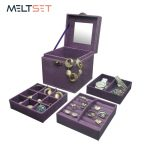Meltset Folding Make Up Organizer Cosmetic Storage Box Mircro Suede Makeup Boxes Women's <b>Fashion</b> Handbag Portable Beauty Tool