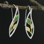 Lotus Fun Real 925 Sterling <b>Silver</b> Natural Creative Handmade Fine Jewelry Spring in the Air Leaves Drop <b>Earrings</b> for Women