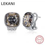 LEKANI Crystals From SWAROVSKI New Trendy Cube Shaped Stud <b>Earrings</b> Piercing S925 <b>Silver</b> Jewelry For Women Girls Gifts