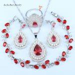 L&B Red 925 Sterling <b>Silver</b> Jewelry Set Water Drop Stone Big Earrings Crystal Dubai Egyptian Bridal Jewelry Set Leaf <b>Bracelet</b>