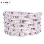 KELITCH <b>Jewelry</b> Exquisite AB Crystal Beads with Leather Wrap Bracelets Wholesale <b>Handmade</b> Beach Travel Bohemian Bracelet