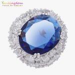 Yunkingdom 31MM Blue Cubic Zirconia Fine Rings For Women Ladies Inlay Clear Crystal <b>Wedding</b> Party <b>Jewelry</b>