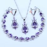 L&B Popular American Style Water Drop 925 Stamp Silver Color <b>Jewelry</b> Sets Purple White Zirconia Bracelets Earring Pendant
