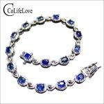 Luxurious Sri Lanka sapphire <b>bracelet</b> 16pcs natural cornflower blue sapphire <b>silver</b> <b>bracelet</b> solid 925 <b>silver</b> gemstone <b>bracelet</b>