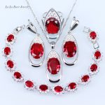 L&B 4 Pieces <b>Silver</b> 925 Jewelry Sets Red Created Garnet White zircon crystal <b>Bracelet</b>/Pendant/Necklace/Ring/Earrings