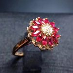 Luxurious big round Sunflower Natural red ruby gem Ring Natural gemstone ring S925 <b>silver</b> women wedding gift fine <b>Jewelry</b>