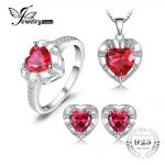 JewelryPalace Love Heart 8.7ct Created Ruby Statement Ring Pendant Necklace Stud <b>Earrings</b> Jewelry Sets 925 Sterling <b>Silver</b> 45mm