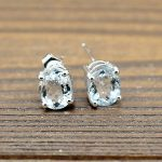 2.8ct 6x8mm Oval Cut Natural Aquamarine 925 Sterling <b>Silver</b> Women Stud <b>Earrings</b> Engagement Wedding Party Fine Jewlery Gemstone