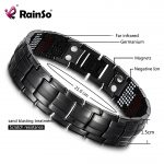 RainSo Male Bracelet Health Germanium Bracelet Charm Black Titanium Magnetic Therapy Bangles Unique Wristband Men <b>Jewelry</b> 1316