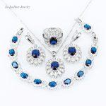 L&B Jewelry Sets For Women whtie zircon Blue crystal <b>silver</b> 925 wedding Necklace Pendant <b>Bracelet</b> Rings Earrings