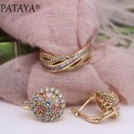 PATAYA New 585 Rose Gold Colorful Square Round Natural Zircon Dangle Earrings Rings Sets Women Luxury Fine <b>Wedding</b> <b>Jewelry</b> Set